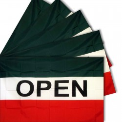 Five - Open Green 3'x 5' Polyester Business Flag