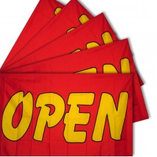 Five - Open Red Yellow 3'x 5' Polyester Business Flag