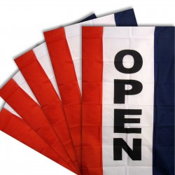 Open Vertical 3' x 5' Polyester Flag - 5 Pack