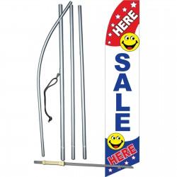 Sale Here Smiley Face Swooper Flag Bundle