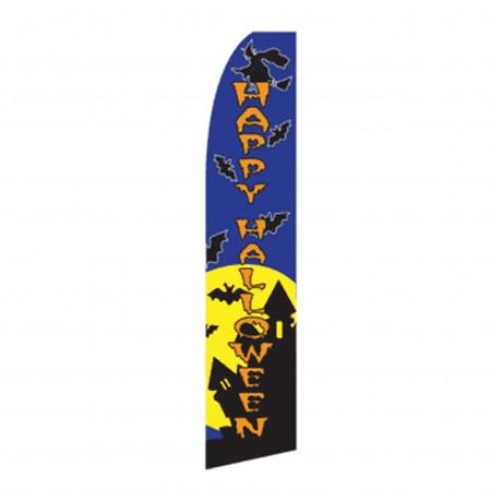 Happy Halloween Witch Bats Swooper Flag
