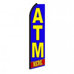 ATM Here Blue Swooper Flag