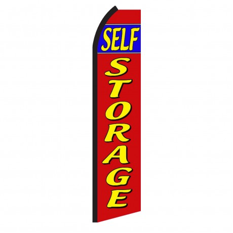 Self Storage Red Blue Stripe Swooper Flag