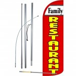 Family Restaurant Extra Wide Windless Swooper Flag Bundle