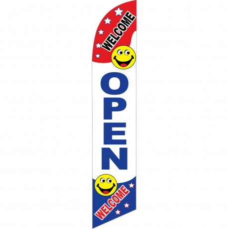 Open Smiley Windless Swooper Flag