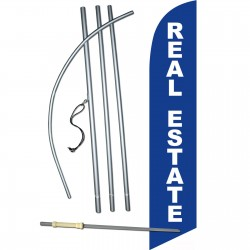 Real Estate Blue White Windless Swooper Flag Bundle