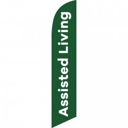 Assisted Living Green White Windless Swooper Flag
