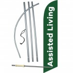 Assisted Living Green White Windless Swooper Flag Bundle