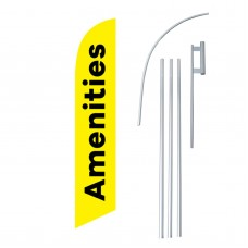 Amenities Yellow Black Windless Swooper Flag Bundle