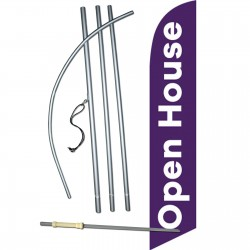 Open House Purple White Windless Swooper Flag Bundle