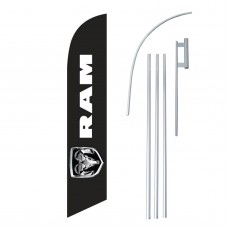 Dodge Ram Black Windless Swooper Flag Bundle