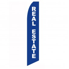 Real Estate Blue White Swooper Flag