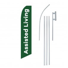 Assisted Living Green White Swooper Flag Bundle