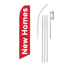 New Homes Red White Swooper Flag Bundle