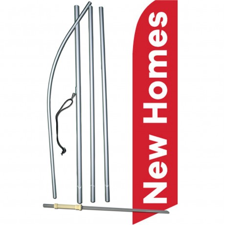 New Homes Red Swooper Flag Bundle