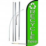 Recycle Here Green Windless Swooper Flag Bundle