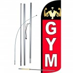 Gym Red Black Windless Swooper Flag Bundle