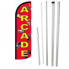 Arcade Red Windless Swooper Flag Bundle
