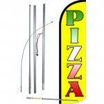 Pizza Yellow Neon Windless Swooper Flag Bundle