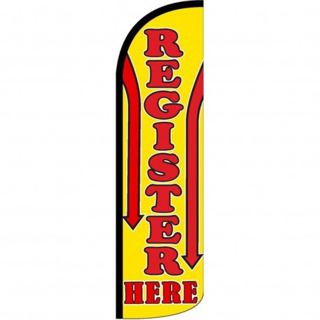 Register Here Red Yellow Windless Swooper Flag