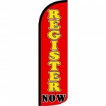 Register Now Red Yellow Windless Swooper Flag