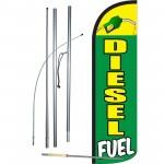 Diesel Fuel Green Yellow Windless Swooper Flag Bundle