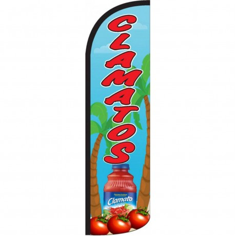 Clamatos Red Blue Windless Swooper Flag