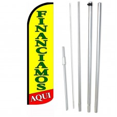 Financiamos Yellow Green Windless Swooper Flag Bundle