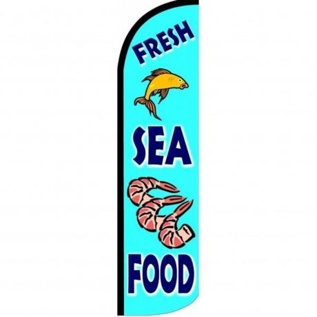Fresh Sea Food Blue Windless Swooper Flag