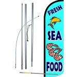 Fresh Sea Food Blue Windless Swooper Flag Bundle
