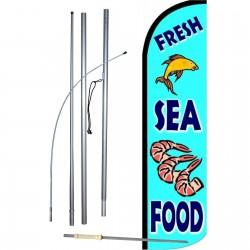 Fresh Sea Food Blue Windless Swooper Flag Bundle