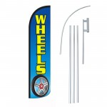 Wheels Blue  Windless Swooper Flag Bundle
