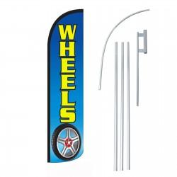 Wheels Blue  Windless Swooper Flag Bundle