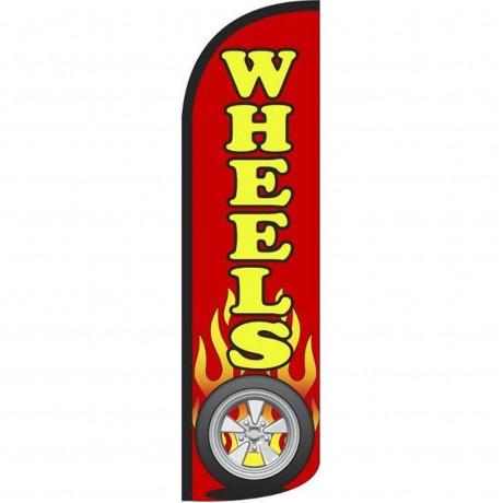Wheels Red Windless Swooper Flag