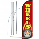 Wheels Red Windless Swooper Flag Bundle