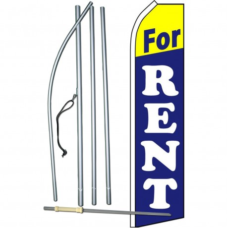 For Rent Blue Yellow Swooper Flag Bundle