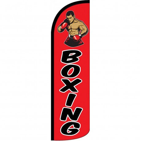 Boxing Red Extra Wide Windless Swooper Flag