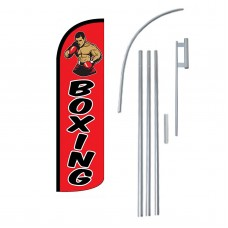 Boxing Red Extra Wide Windless Swooper Flag Bundle