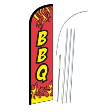 BBQ Flames Red Windless Swooper Flag Bundle