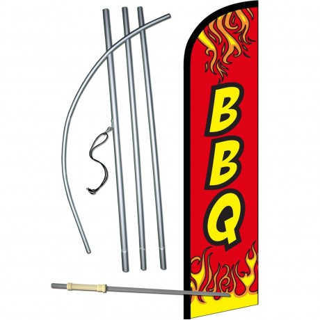 BBQ Red Flames Windless Swooper Flag Bundle