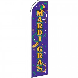 Mardi Gras Masks Beads Swooper Flag