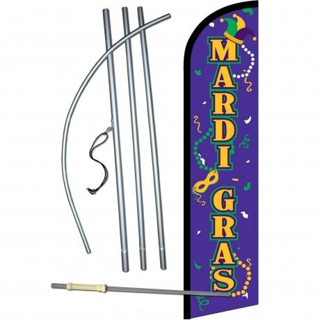 Mardi Gras Masks Beads Windless Swooper Flag Bundle