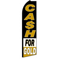 Cash For Gold Black White Extra Wide Swooper Flag