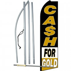Cash For Gold Black White Extra Wide Swooper Flag Bundle