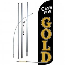 Cash For Gold Black Windless Swooper Flag Bundle