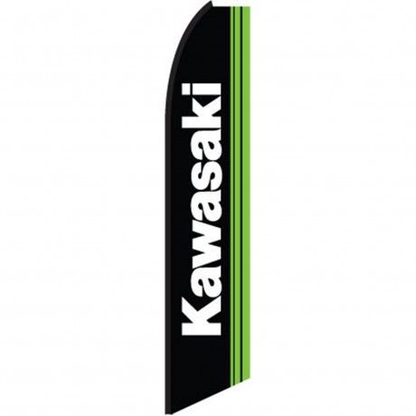 Kawasaki Black Green Swooper Flag