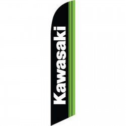 Kawasaki Black Green Windless Swooper Flag