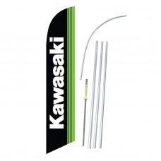 Kawasaki Black Green Windless Swooper Flag Bundle
