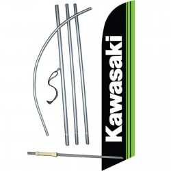 Kawasaki Black Green Windless Swooper Flag Bundle