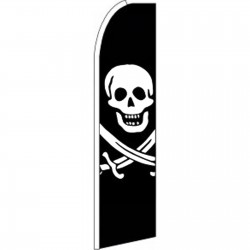 Skull And Bones Extra Wide Swooper Flag